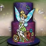 Tinker Bell cake hand painting.